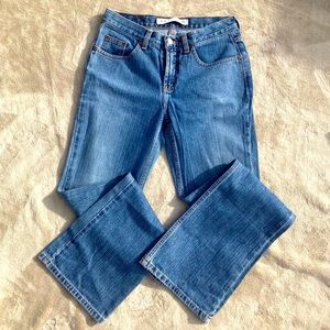 Express low rise flare blue jeans. Size 3/4.